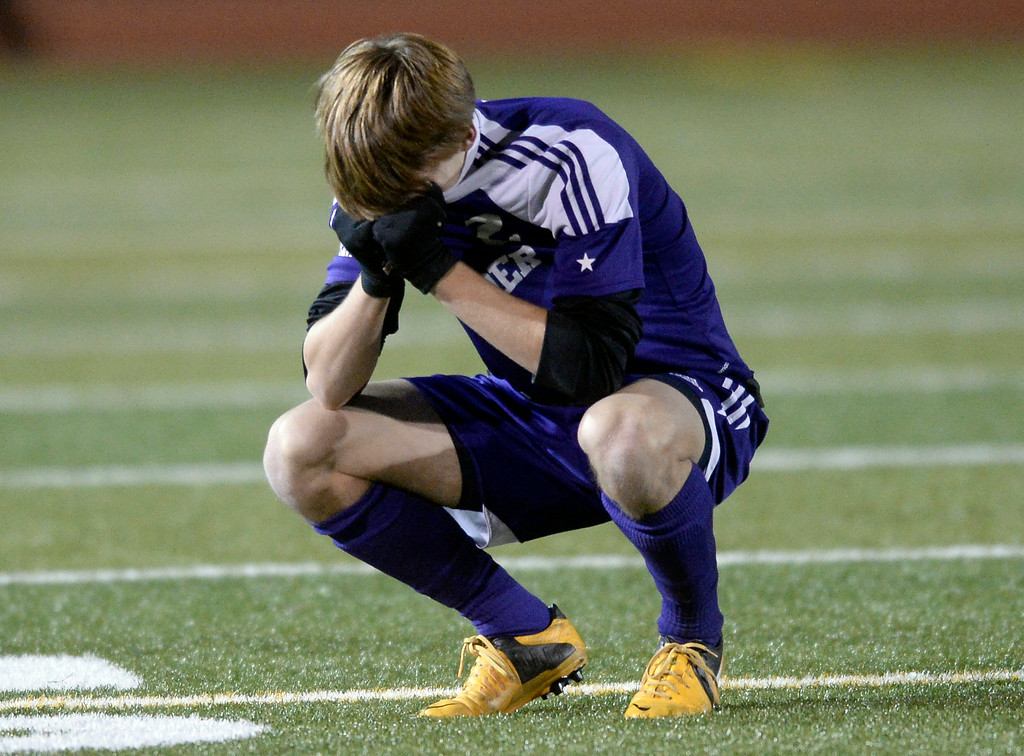 . Boulder High School\'s Kevin Van Lieshout shows his emotions after losing a semi-final game against Pine Creek High School on Wednesday, Nov. 6, at Cherokee Trail High School in Aurora. Boulder lost the game 1-0. For more photos of the game go to www.dailycamera.com Jeremy Papasso/ Camera