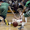 """Fairview High School's Brent Wrapp fights for a loose ball with Hunter O'Neill, left, and Keelan Hammonds, at right, during a game against ThunderRidge High School on Wednesday, March 6, at Fairview High School in Boulder. For more photos of the game go to  <a href=""""http://www.dailycamera.com"""">http://www.dailycamera.com</a><br /> Jeremy Papasso/ Camera"""
