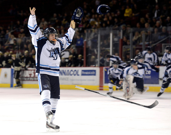 "Ralston Valley's Brendan Aleksivich celebrates victory after defeating Monarch during the Colorado State Ice Hockey Championship game on Friday, March 1, at at Magness Arena in Denver. Monarch lost the game 5-1. For more photos of the game go to  <a href=""http://www.dailycamera.com"">http://www.dailycamera.com</a> <br /> Jeremy Papasso/ Camera"