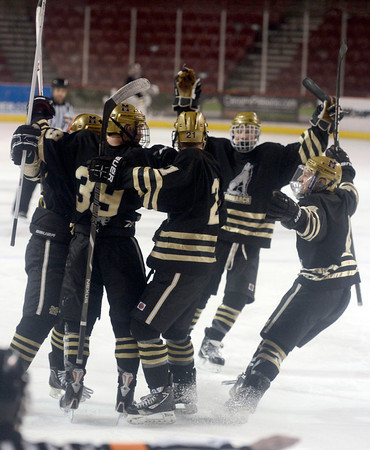 "Monarch's hockey team celebrates a goal during the Colorado State Ice Hockey Championship game against Ralston Valley on Friday, March 1, at at Magness Arena in Denver. Monarch lost the game 5-1. For more photos of the game go to  <a href=""http://www.dailycamera.com"">http://www.dailycamera.com</a> <br /> Jeremy Papasso/ Camera"