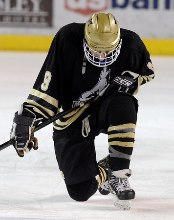 """Monarch's Walker Harris shows his emotions after losing to Ralston Valley during the Colorado State Ice Hockey Championship game on Friday, March 1, at at Magness Arena in Denver. Monarch lost the game 5-1. For more photos of the game go to  <a href=""""http://www.dailycamera.com"""">http://www.dailycamera.com</a> <br /> Jeremy Papasso/ Camera"""