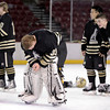 "Monarch goalkeeper Ian Oden, center, shows his emotions after losing to Ralston Valley during the Colorado State Ice Hockey Championship on Friday, March 1, at at Magness Arena in Denver. Monarch lost the game 5-1. For more photos of the game go to  <a href=""http://www.dailycamera.com"">http://www.dailycamera.com</a> <br /> Jeremy Papasso/ Camera"