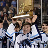 "Ralston Valley's Charles Joly holds the championship trophy after defeating Monarch during the Colorado State Ice Hockey Championship game on Friday, March 1, at at Magness Arena in Denver. Monarch lost the game 5-1. For more photos of the game go to  <a href=""http://www.dailycamera.com"">http://www.dailycamera.com</a> <br /> Jeremy Papasso/ Camera"
