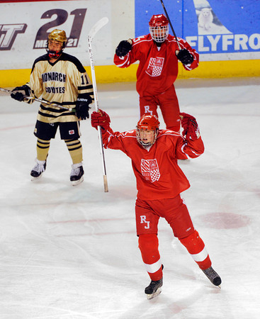 DENVER, CO. - FEBRUARY 28: Raiders forward Grant Johnson got the game's first goal early in the first period. Monarch High School met Regis Jesuit Thursday night, February 28, 2013 in a semifinal match in the Colorado State Ice Hockey Championships at Magness Arena in Denver.  (Photo By Karl Gehring/The Denver Post)