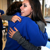 "Centaurus High School senior Shanlie Anderson, right, gets a hug from freshman Olivia Rogers after Anderson signed her letter of intent to play soccer at the University of Northern Colorado on Friday, Feb. 8, at Centaurus High School in Lafayette. For more photos and video of Anderson signing her letter of intent go to  <a href=""http://www.dailycamera.com"">http://www.dailycamera.com</a><br /> Jeremy Papasso/ Camera"