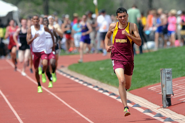 Brush High School's Anthony Thomas runs to the finish line with a comfortable lead to win the 1600-meter run during the Class 3A State Track and Field Championships on Saturday, May 18, 2013 at Jeffco Stadium in Lakewood, Colo. (Photo by Steve Stoner)