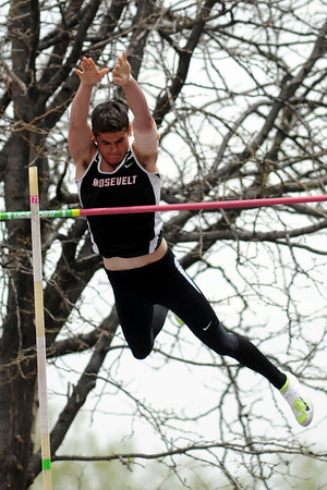 Roosevelt High School's Tanner Starr clears the bar while competing in the pole vault during the Class 4A State Track and Field Championships on Saturday, May 18, 2013 at Jeffco Stadium in Lakewood, Colo. (Photo by Steve Stoner)