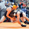 Thompson Valley's Parker Simington  wrestling Roosevelt's Jace Lopez,  in the 138-pound semi-final match in class 4A during the state wrestling championships at the Pepsi Center in Denver on Friday.<br /> February 22, 2013<br /> staff photo/ David R. Jennings