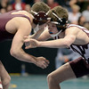 "Berthoud High School's Jimmy Fate, right, ties up with Cheyenne Mountain's Bobby Arnold during the Class 4A 126-pound match during the Colorado State Wrestling Championship semifinals on Friday, Feb. 22, at the Pepsi Center in Denver. Fate lost the match. For more photos of the tournament go to  <a href=""http://www.dailycamera.com"">http://www.dailycamera.com</a><br /> Jeremy Papasso/ Camera"