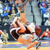 Ft. Morgan's Ian Wingstrom, left, wrestling Dalton Hanningan, Palisade,  in the 126-pound semi-final match in class 4A during the state wrestling championships at the Pepsi Center in Denver on Friday.<br /> February 22, 2013<br /> staff photo/ David R. Jennings