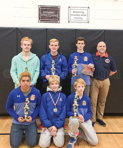 The Penn Yan wrestling team, including Alvaro Chavez, Cody Allgood, Damien Snyder, (back row) Coty Bailey, Nate Elliot, Jarred Calice and Coach Chinn at the  Wayne-Finger Lakes Championship, Saturday, Jan. 21.