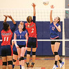 Sydney Bloom goes up at the net to return the ball last week.