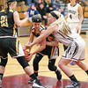 Alyssah Newell tries to steal the ball from South Seneca during the home game.