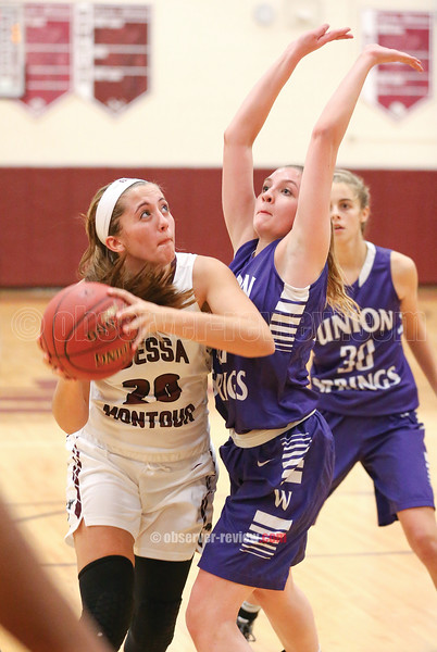 Olivia Grover drives to the basket to score two points against Union Springs, Thursday, Nov. 30.