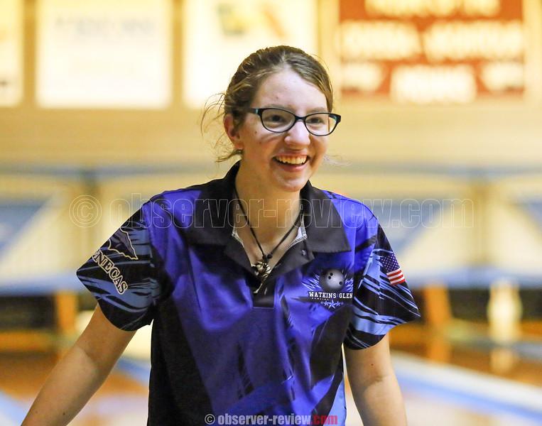 Makenzie Kellogg reacts to a roll last Friday in Watkins Glen.