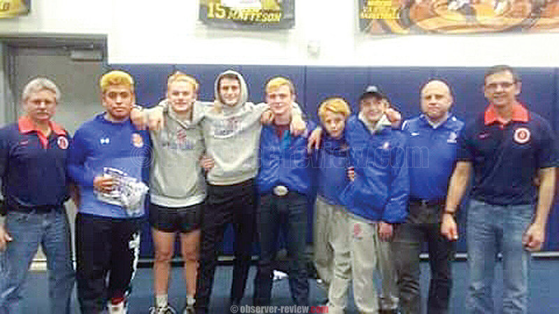 Penn Yan wrestlers advanced to the state qualifier in Brockport by placing within the top six spots in their weight class. Pictured are Coach Bob Peacock, Leo Chavez, Coty Bailey, Jarred Calice, Nate Elliott, Damien Snyder, Cody Allgood, Coach Theron Chinn and Coach Jason Elliott.