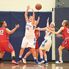 Lizzy Lafferty and Hannah Keech work to gain control of a rebound Wednesday, Feb. 22 against Hornell.