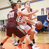 Jack Peterson is about to be fouled as he goes to shoot in the game with Wayland-Cohocton Tuesday, Feb. 21.