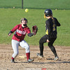 Xavia Miller catches the ball at second base Wednesday, April 12 against South Seneca.