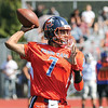 Quarterback Will Rogers looks downfield as he throws a pass, Saturday, Sept. 23.