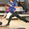 Zach Blauvelt rolls the ball for Penn Yan Thursday, Jan. 11 against Honeoye.