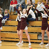 The Dundee cheerleading squad leads a cheer during the boys basketball game against Bloomfield, Wednesday, Jan. 10.
