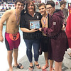 Billy Tague, Coach Terri Brace, Alec Betts and Cameron Adams have a photo taken after winning the Class C division crown.