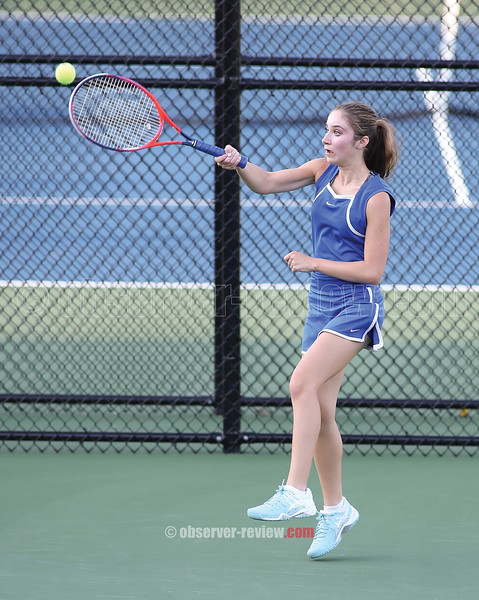 Molly Pullen returns a serve, Tuesday, Oct. 9 in the sectional match against Marcus Whitman.