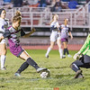 Hannah Bruno meets the Union Springs goaltender during the game last week. PHOTO BY: Doug Yeater