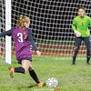 Kennedey Heichel shoots what would be the winning goal for Odessa, Friday night. PHOTO BY: Doug Yeater