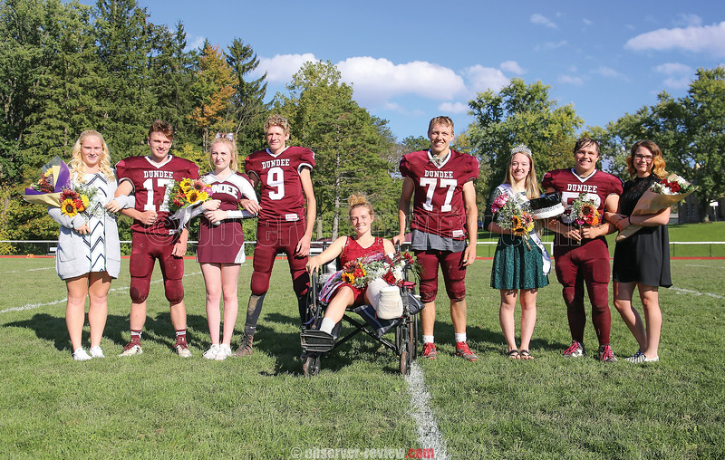 Dundee's homecoming court includes Alyssah Newell, Colby Secord, Sabrina Goodman, Paul Knapp, Haille Empson, Preston Cole, Queen Sarah Boudinot, Leif Hoyt and Elizabeth Medina. Austin Brace was named the king, but was injured in the game.