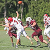 Isaac Semans and Cameron Denmark put pressure on the Red Jacket quarterback late in the game last Saturday.