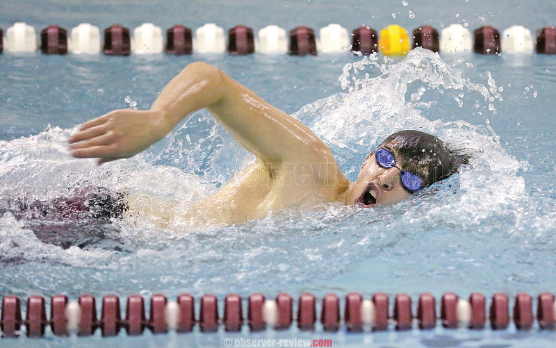Brett Walters swims the final leg of the 400 yard freestyle relay, Thursday, Dec. 6 against Dryden.