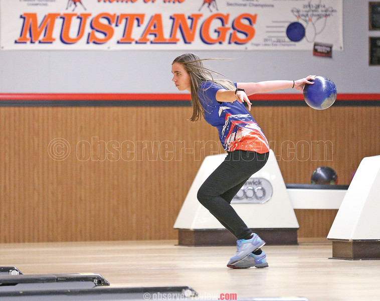 Kari Ayers prepares to roll the ball Wednesday, Dec. 5, against Marcus Whitman.