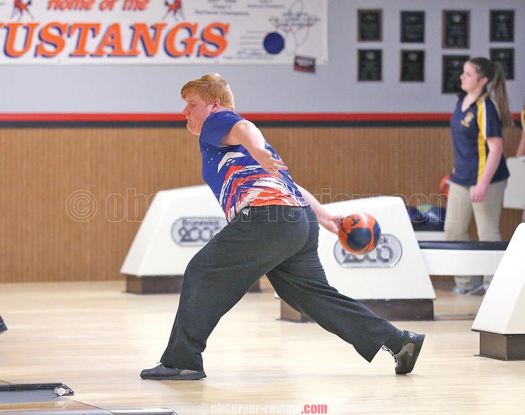 Jon Mashewske bowls for Penn Yan last Wednesday.
