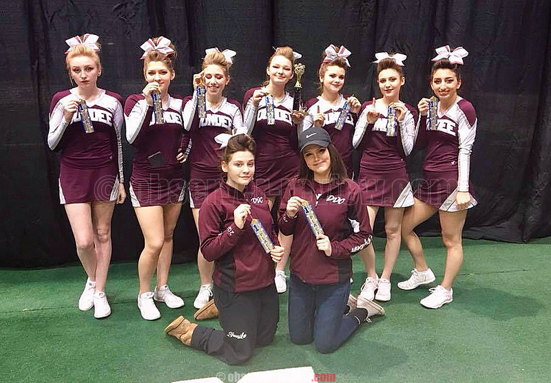 The Dundee varsity cheerleading squad took first place, Sunday, Feb. 11 at the Greater Rochester Cheer and Dance Competition. Photo Provided