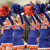 The Penn Yan cheerleading squad cheers during the game against Geneva.