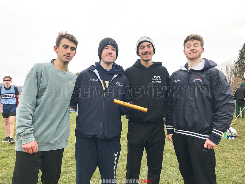 The relay team of Aaron Planty, Elliott Holland, Gabe Planty and Casen Weeden set a new school record last week. PHOTO PROVIDED