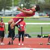 Julian Ortiz clears the high jump bar in the Monday meet.