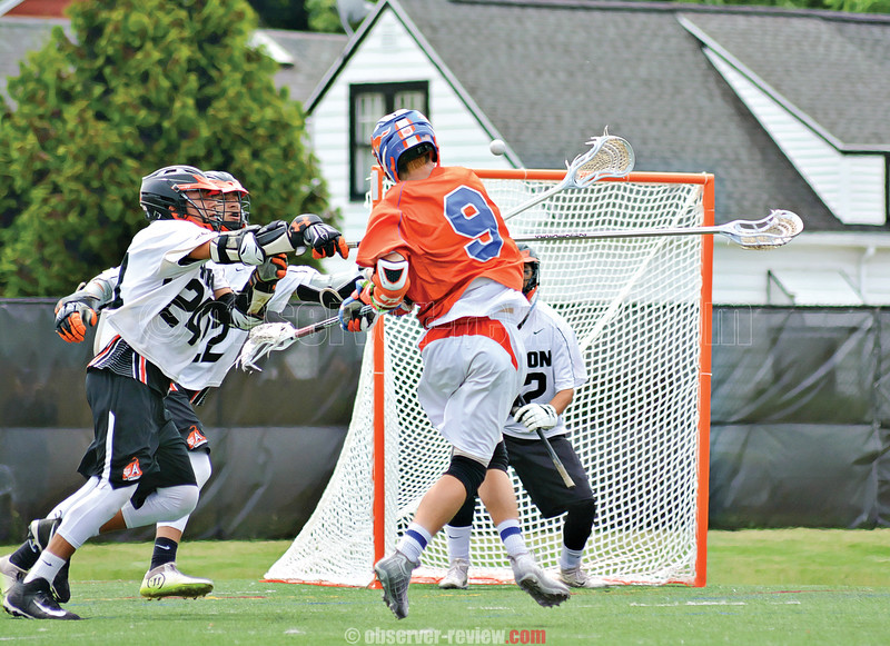 Penn Yan's Austin Blumbergs shoots and scores the game winning goal in overtime against Akron, Saturday, June 2 at All-High Stadium in Buffalo. Photo by: Dusty Blumbergs