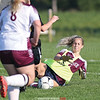 Dundee's Karynna Rutledge makes a sliding save during the game against South Seneca, Friday, Sept. 21.