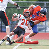 Penn Yan's Conner Fingar crosses the goal line to score a touchdown in the Friday game against Waterloo.