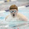 Scott Brubaker competes in the breaststroke event Thursday, Jan. 10.