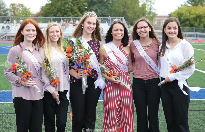 The Penn Yan homecoming court included Cailyn Warren, Taylor Snyder, 2019 Queen Riley Potts, 2018 Queen Rachel Wheeler, Clarissa Enos and Amelia Conlon.