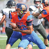 Mekhi Mahan drives up the middle for Penn Yan during the second quarter in the homecoming game. Penn Yan lost 28-14.