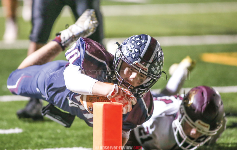 Dominick Fazzary dives to cross the goal line, Saturday, Oct. 19. He was ruled just short.
