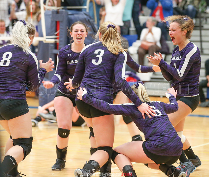The Lakers react as they win the fifth game and the sectional title last week.