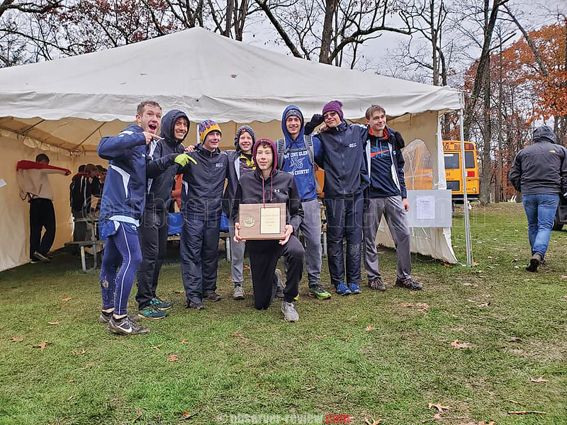 A wet and muddy course faced the Watkins cross country team as they raced to first place at the sectional final. PHOTO PROVIDED