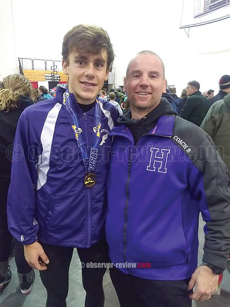 Thomas Kressly with coach Jason Brayman at the state championship last weekend. PHOTO PROVIDED