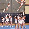 The Penn Yan cheerleaders perform at the boys game last Saturday.